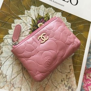 CHANEL - Pink Lambskin Camellia Key Ring Pouch